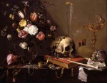 Живопись | Adriaen van Utrecht | Vanitas: Still Life with Bouquet and Skull, 1642