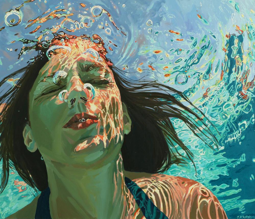 underwater painting people swimming - 980×844