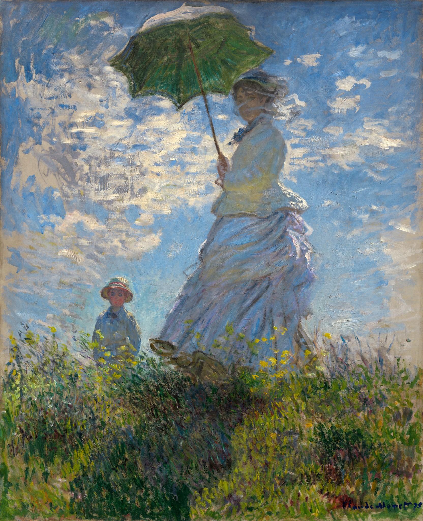Claude Monet Прогулка, женщина с зонтиком