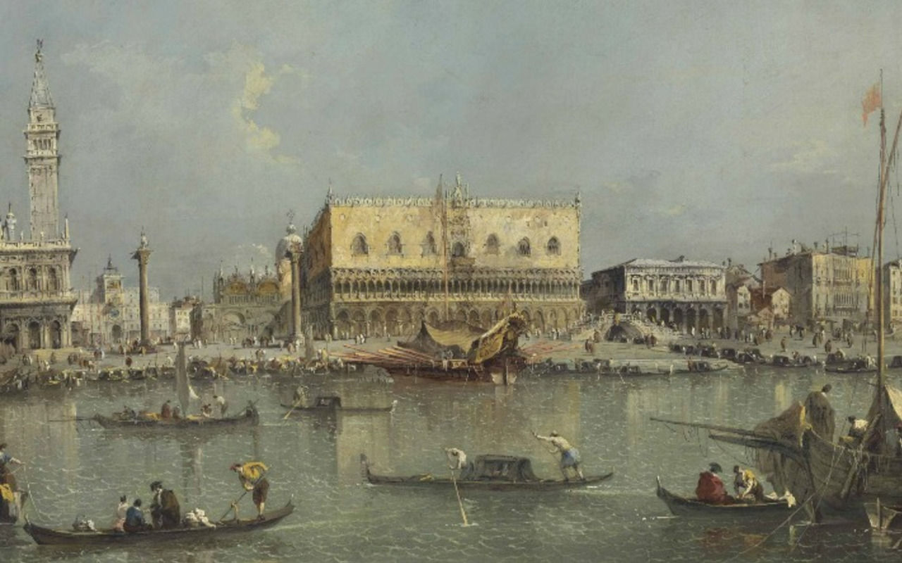 Francesco Guardi (Венеция залив Сан-Марко. Пьяцетта и Дворец дожей)