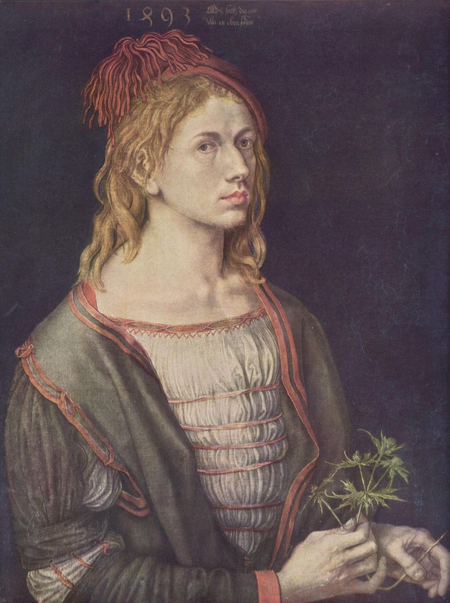 Albrecht Dürer (1493. Автопортрет с остролистом или синеголовником полевым. 22 года)