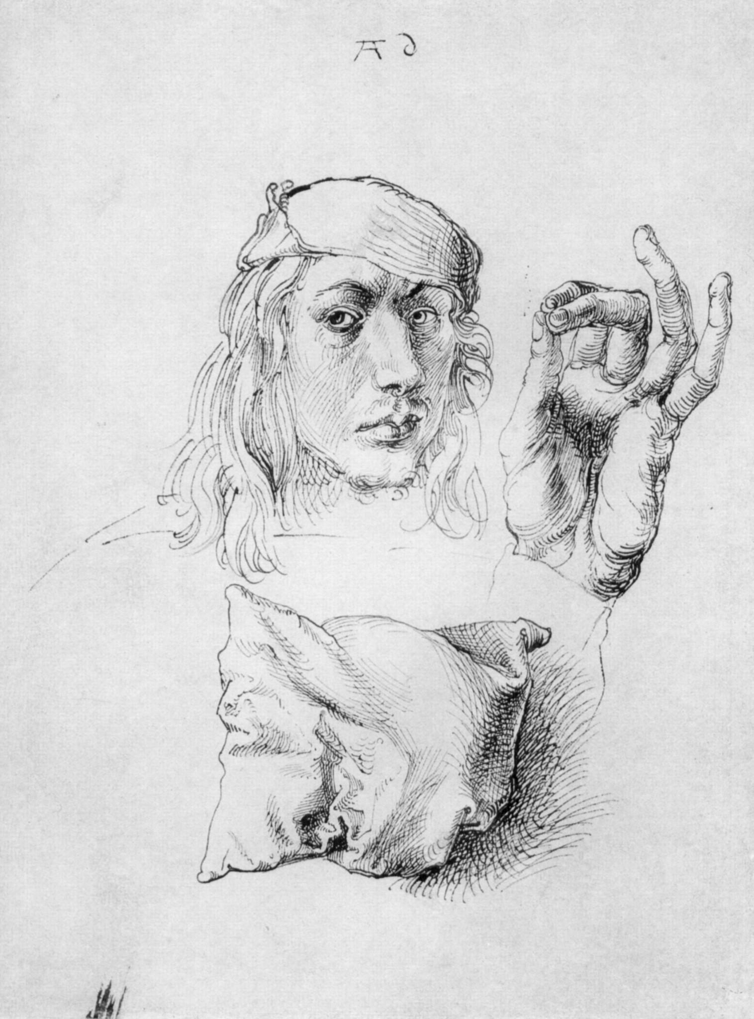 Albrecht Dürer (1493. Наброски. Подушка кисть руки и автопортрет в 22 года)