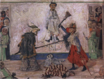 Живопись | James Ensor | Skeletons Fighting over a Hanged Man.1891