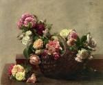 Живопись | Анри Фантен-Латур | Basket of Roses, 1880