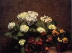 Живопись | Анри Фантен-Латур | Hydrangeas, Cloves and Two Pots of Pansies, 1879