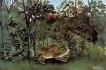 Живопись | Анри Руссо | Голодный лев бросается на антилопу, 1905