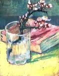 Живопись | Винсент ван Гог | Ветвь цветущего миндаля в вазе и книга. Март, 1888