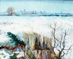 Живопись | Винсент ван Гог | Заснеженный пейзаж с Арлем на заднем плане. Февраль,1888