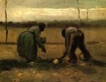 Живопись | Винсент ван Гог | Peasant and Peasant Woman Planting Potatoes