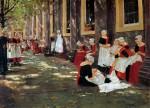Живопись | Макс Либерман | Час отдыха в детском приюте. Амстердам, 1876