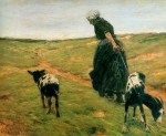 Живопись | Max Liebermann | Woman and Her Goats in the Dunes, 1890
