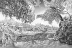 Графика | Гурам Доленджашвили | Зима на берегу Риони. Из серии «Кутаиси». Лист 1
