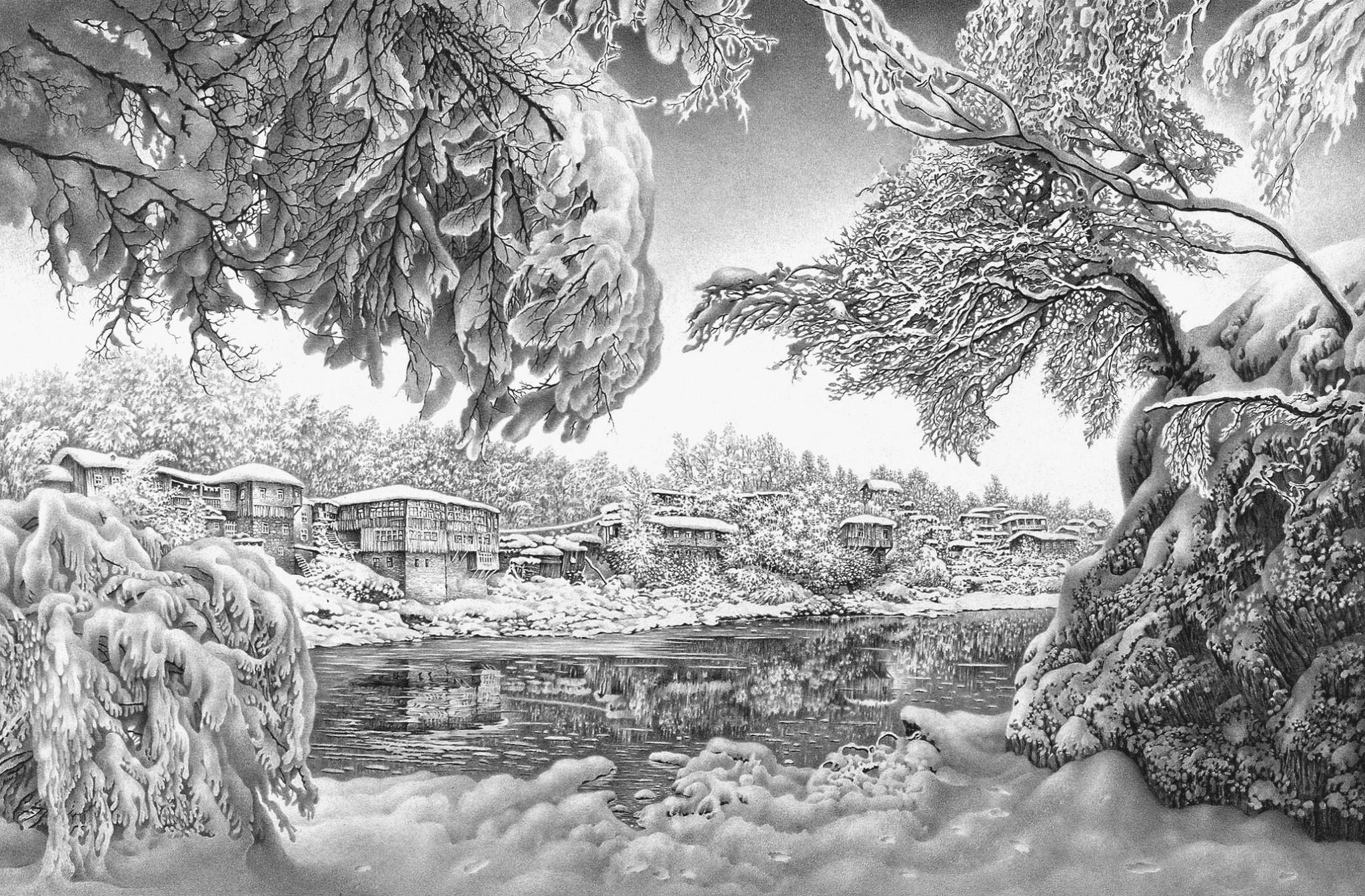 Зимние пейзажи рисунки карандашом 5