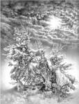 Графика | Гурам Доленджашвили | Симфония зимы. Из серии «Лунные ночи Имеретии»