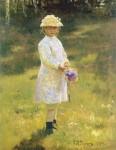 Живопись | Илья Репин | Портрет Веры Репиной (Девочка с букетом), 1878