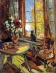 Живопись | Константин Коровин | Черный кот на подоконнике, 1902