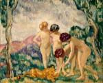 Живопись | Луи Вальта | Young Girls Playing with a Lion Cub, 1906