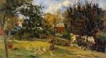 Живопись   Поль Гоген   Geese in the meadow, 1885