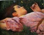 Живопись | Федерико Дзандоменеги | Девушка с цветком, 1894