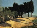Живопись | Джузеппе Аббати | Сельская дорога с кипарисами, 1860