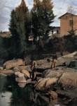 Живопись | Odoardo Borrani | Sand Diggers on the Mugnone, 1880
