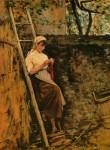 Живопись | Сильвестро Лега | Деревенская девушка, прислонившись к лестнице, 1885