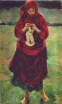 Живопись | Филипп Малявин | Крестьянская девушка с чулком, 1895