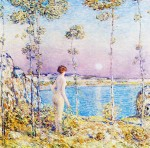 Живопись | Childe Hassam | Moonrise at Sunset, 1900