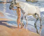 Живопись | Хоакин Соролья-и-Бастида | Купание коня, 1909