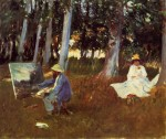 Живопись | John Singer Sargent | Claude Monet Painting by the Edge of a Wood, 1885