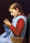 Живопись | Julian Alden Weir | Girl Knitting