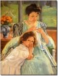 Живопись | Мэри Кассат | Молодая мать за шитьем, 1900