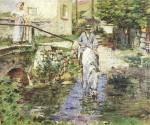 Живопись | Theodore Robinson | Père Trognon and His Daughter at the Bridge, 1891