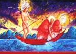 Живопись | Пётр Анненков | Двое, плывущие неизвестно куда по реке жизни