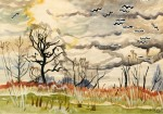 Живопись | Charles Ephraim Burchfield | Birds in Flight, 1917