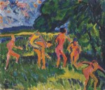 Живопись | Эрих Хеккель | Купальщицы на берегу лесного пруда, 1910