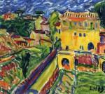 Живопись | Erich Heckel | Houses near Rome, 1909