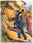 Живопись | Эрнст Людвиг Кирхнер | Men with Wheelbarrows, 1927