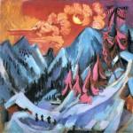 Живопись | Эрнст Людвиг Кирхнер | Зимний пейзаж в лунном свете, 1919
