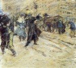 Живопись | Эверетт Шинн | Snow Storm. Madison Square. New York, 1898