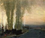 Живопись | Джордж Лакс | Roundhouse at High Bridge, 1910