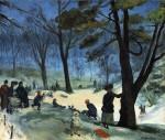 Живопись | William James Glackens | Central Park in Winter, 1905