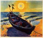 Живопись | Макс Пехштейн | Лодка на восходе солнца