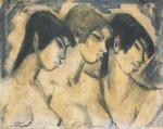 Живопись | Отто Мюллер | Три девушки в профиль, 1918