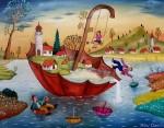 Живопись | Михай Даскалу | Umbrella On The Water