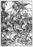 Живопись | Альбрехт Дюрер | Четыре Всадника Апокалипсиса, Смерть, Голод, Мор и Война, 1498