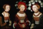 Живопись | Лукас Кранах Старший | Три Саксонские Принцессы: Сибилла, Эмилия И Сидония, Дочери Герцога Генриха Фроммена, 1535