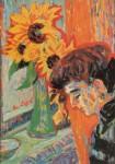 Живопись | Эрнст Людвиг Кирхнер | Женский профиль и подсолнухи, 1906