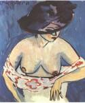 Живопись | Эрнст Людвиг Кирхнер | Полубнаженная в шляпе, 1911