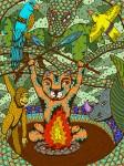 Живопись | Evgeny Bam | Тигр в лесу, проект помощи спасения тигров на Суматре, 2016